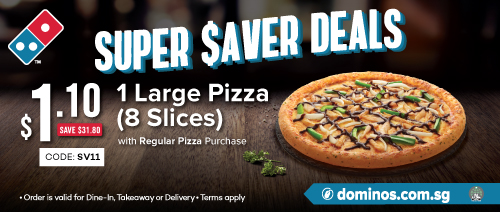 Domino's Pizza - $1.10 Large Pizza with Regular Pizza Purchase (save: $31.80)