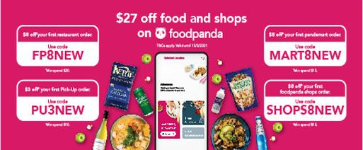 foodpanda - $27 off food and shops on foodpanda