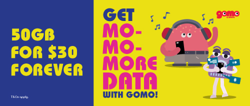 GOMO by Singtel - 50GB for $30 forever