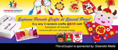 Supreme Parents - 3 Random Crafts @$30 Inclusive of Courier