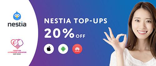 Nestia - 20% off top-ups!