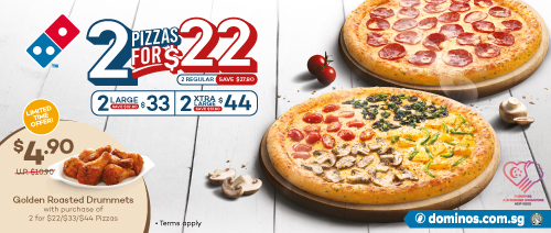 Domino's Singapore -Golden Roasted Drummets at $4.90 with Pizza Purchase