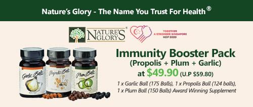 Nature's Glory - Immunity Booster Pack (Propolis + Plum + Garlic) at $49.90 (U.P $59.80)